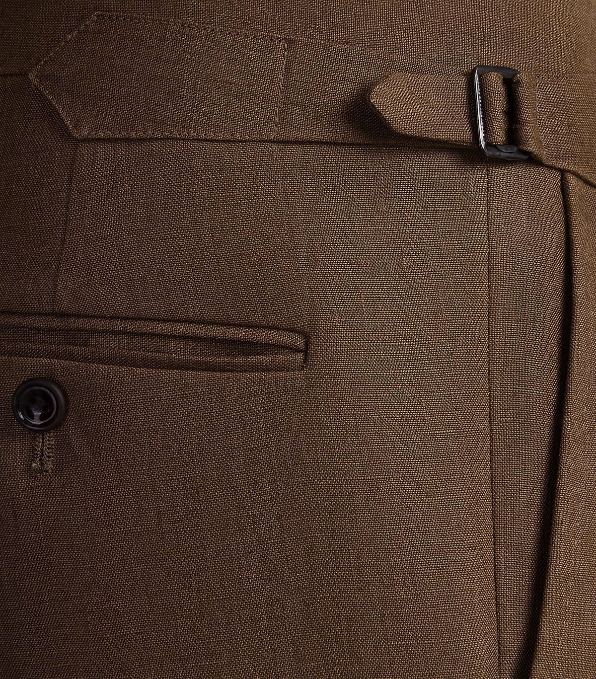 Tobacco Linen Pleated Front Trousers Side Adjusters
